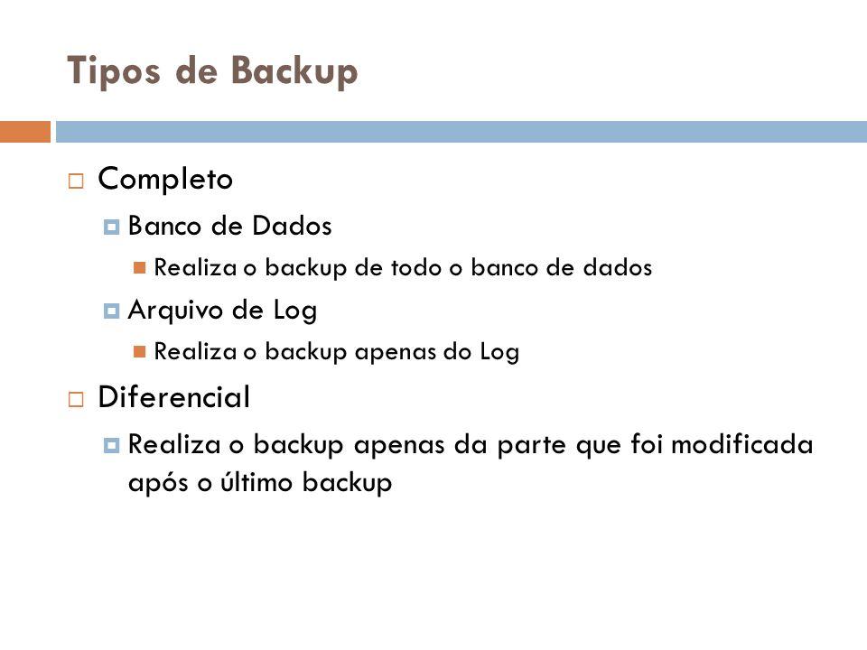 Tipos de Backup Completo Diferencial Banco de Dados Arquivo de Log