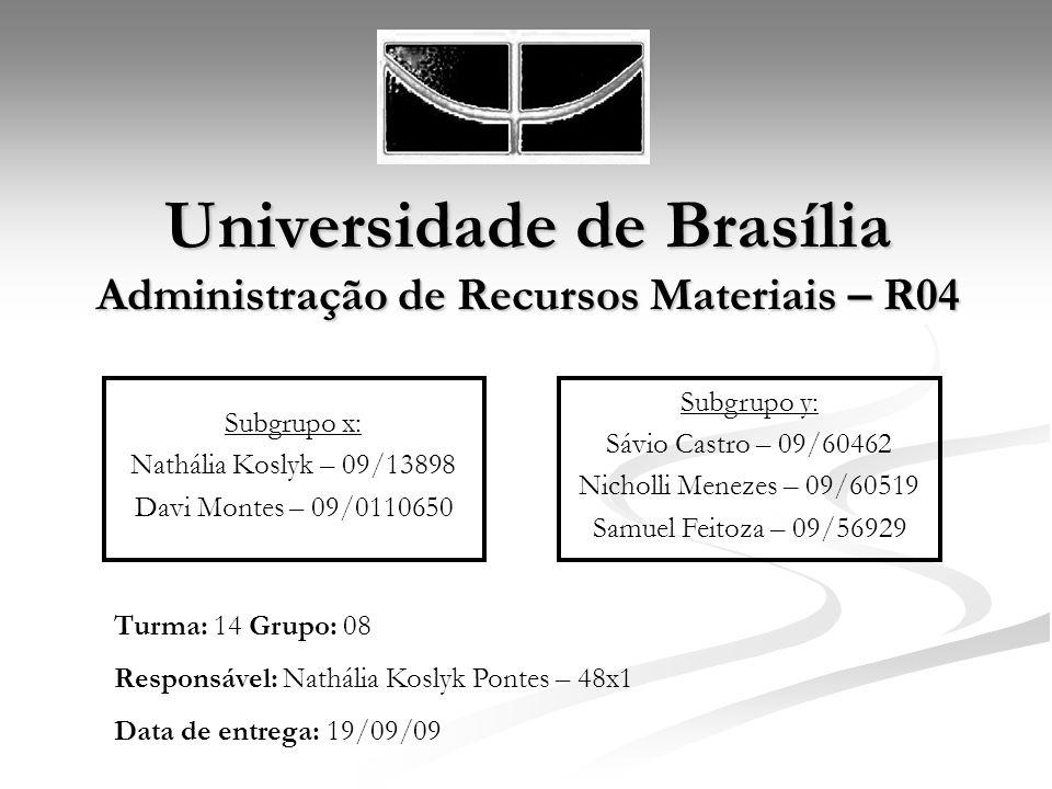 Universidade de Brasília Administração de Recursos Materiais – R04