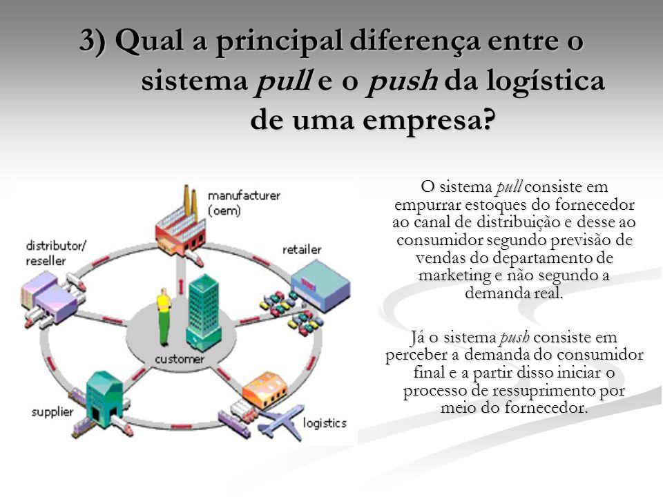 3) Qual a principal diferença entre o sistema pull e o push da logística de uma empresa