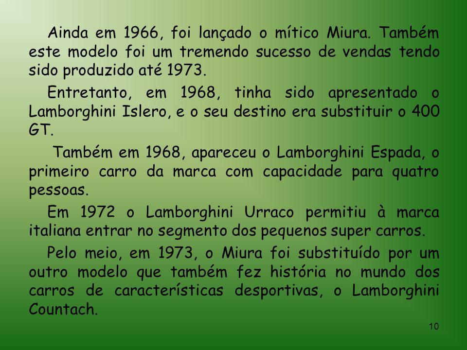 Ainda em 1966, foi lançado o mítico Miura