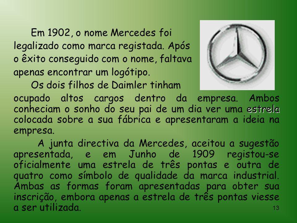Em 1902, o nome Mercedes foi legalizado como marca registada. Após. o êxito conseguido com o nome, faltava.