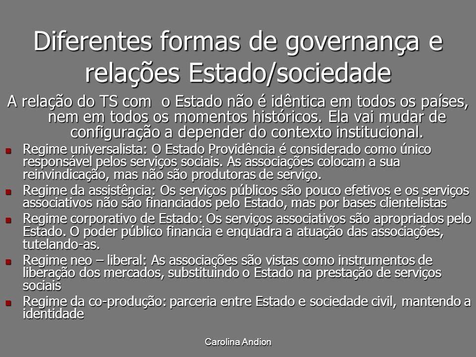 Diferentes formas de governança e relações Estado/sociedade