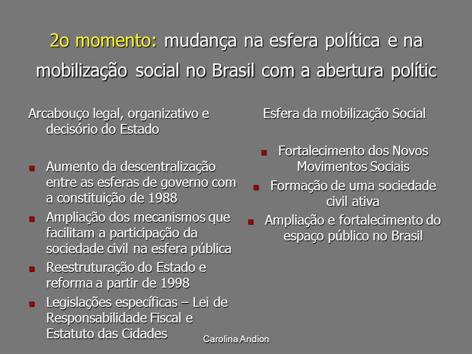 2o momento: mudança na esfera política e na mobilização social no Brasil com a abertura polític