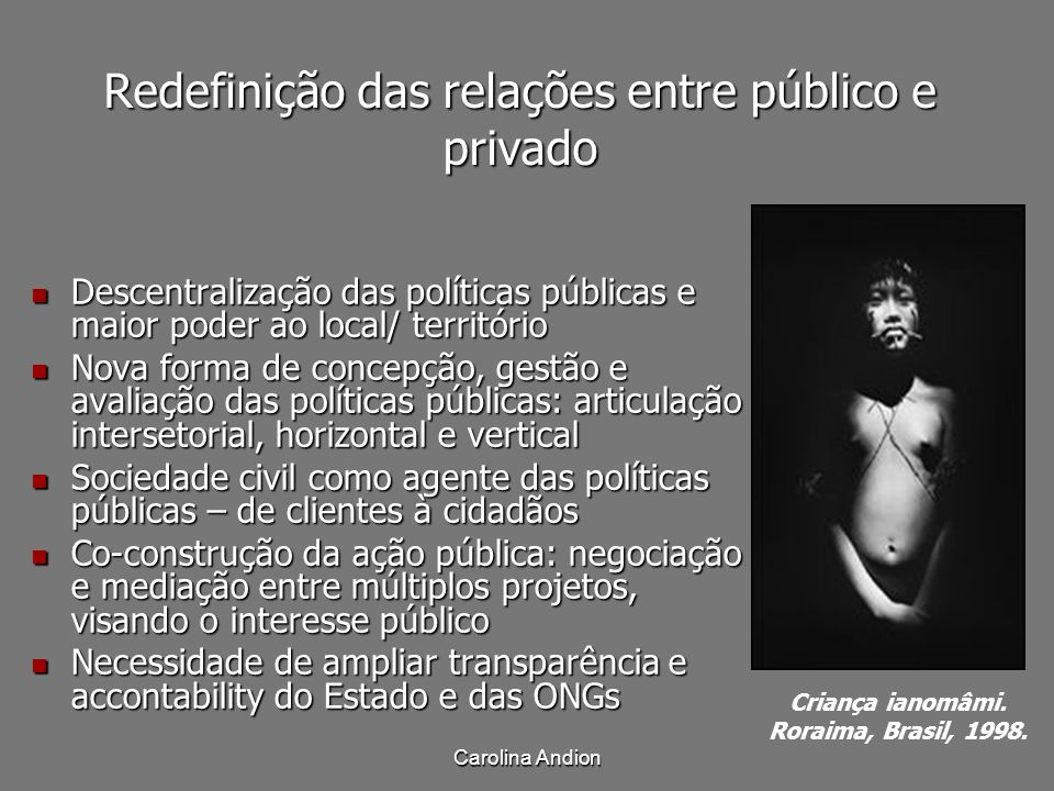 Redefinição das relações entre público e privado