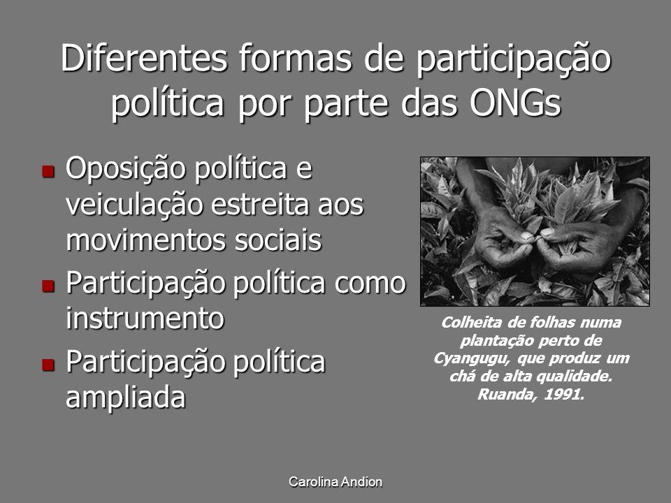 Diferentes formas de participação política por parte das ONGs