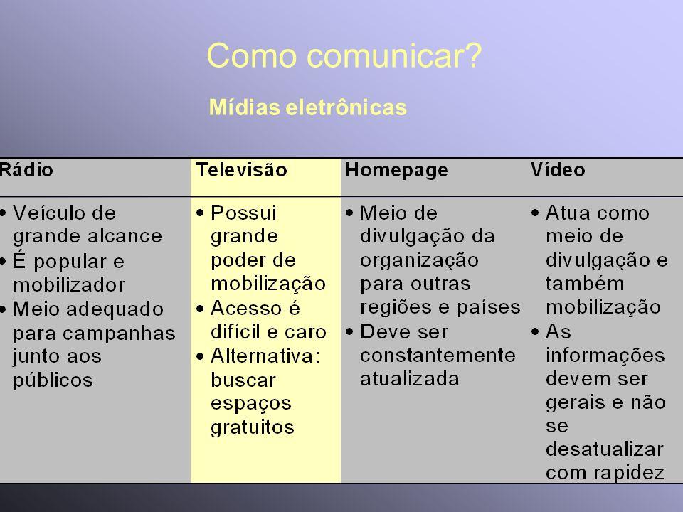 Como comunicar Mídias eletrônicas