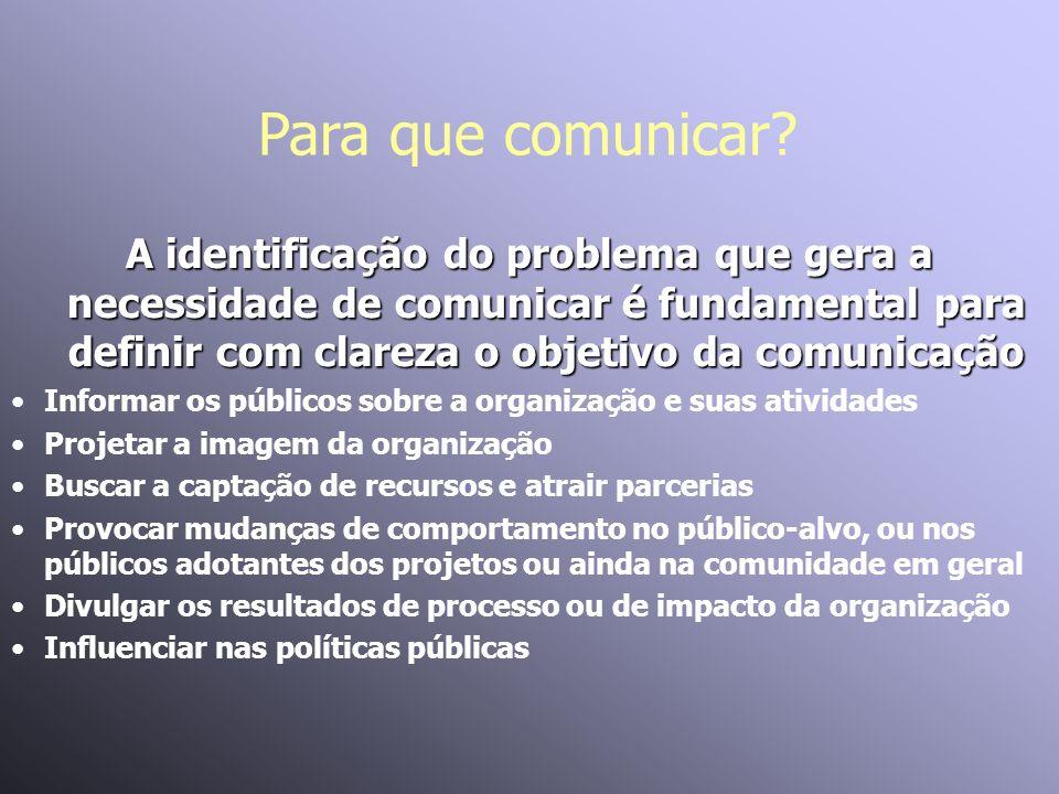 Para que comunicar A identificação do problema que gera a necessidade de comunicar é fundamental para definir com clareza o objetivo da comunicação.