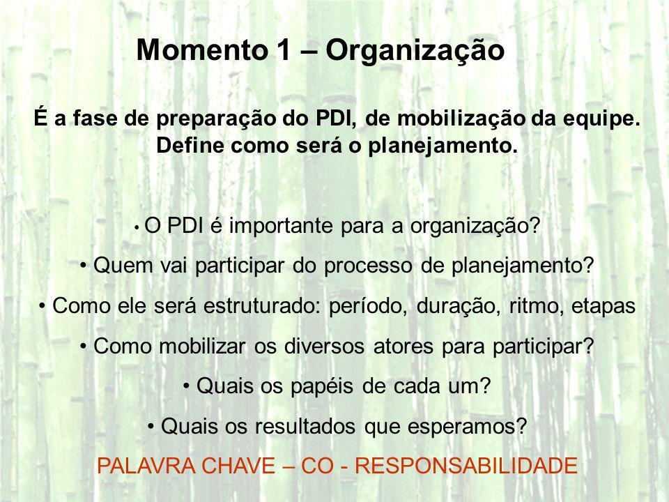 Momento 1 – OrganizaçãoÉ a fase de preparação do PDI, de mobilização da equipe. Define como será o planejamento.