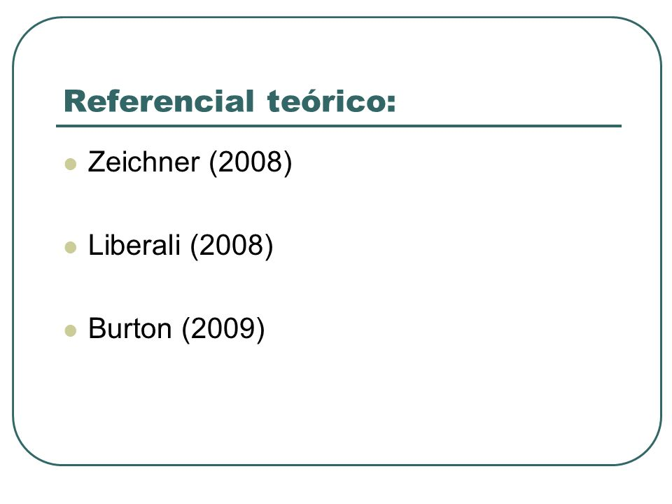 Referencial teórico: Zeichner (2008) Liberali (2008) Burton (2009)