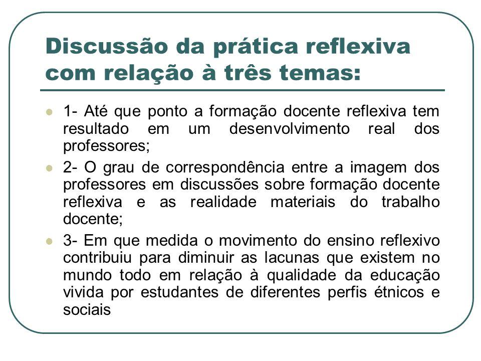 Discussão da prática reflexiva com relação à três temas: