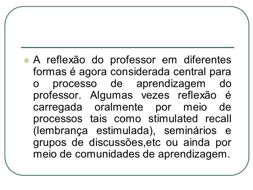 A reflexão do professor em diferentes formas é agora considerada central para o processo de aprendizagem do professor.
