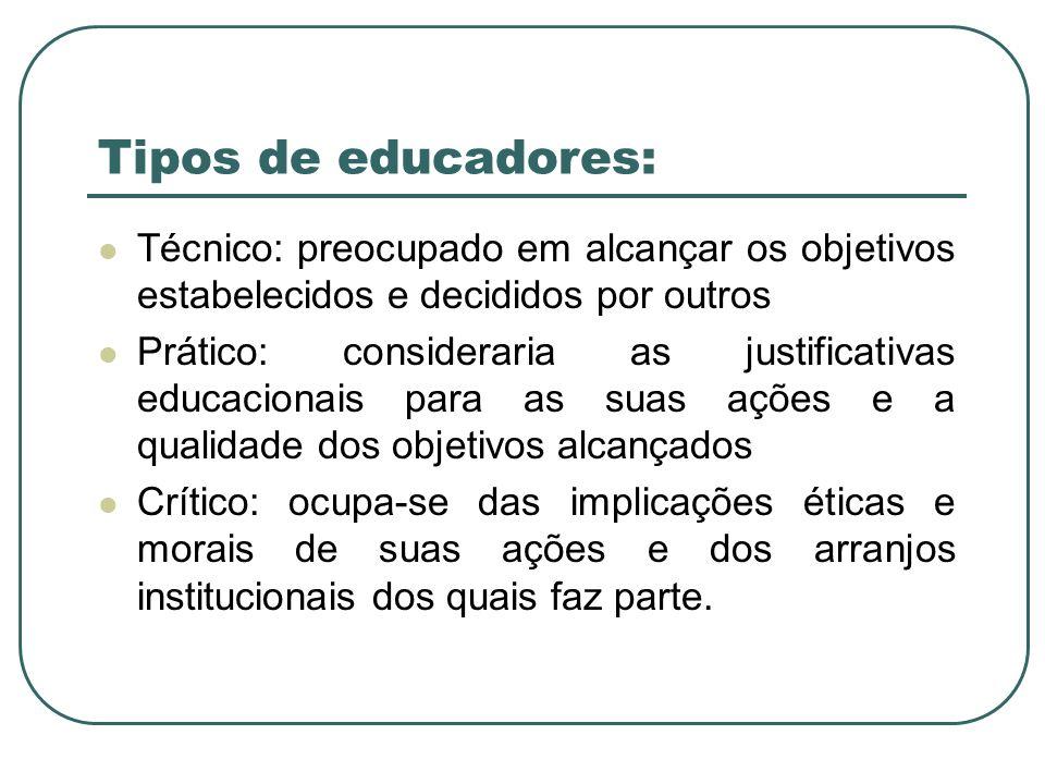 Tipos de educadores: Técnico: preocupado em alcançar os objetivos estabelecidos e decididos por outros.