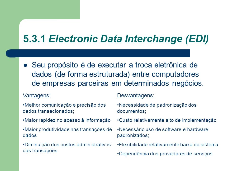 5.3.1 Electronic Data Interchange (EDI)