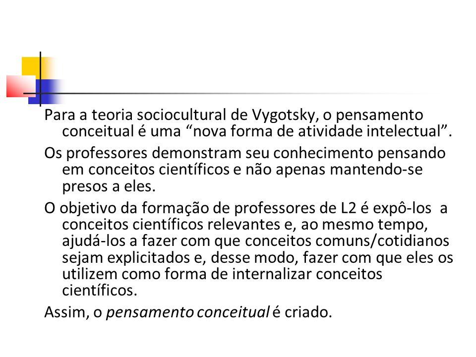 Para a teoria sociocultural de Vygotsky, o pensamento conceitual é uma nova forma de atividade intelectual .