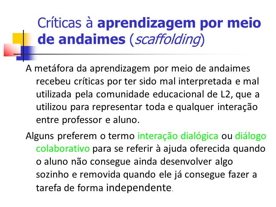 Críticas à aprendizagem por meio de andaimes (scaffolding)