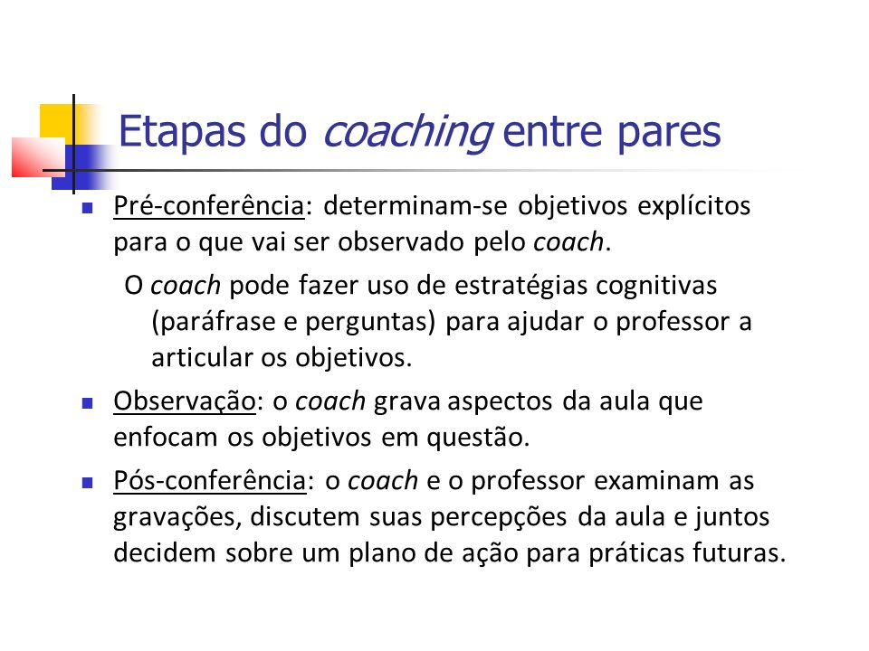 Etapas do coaching entre pares