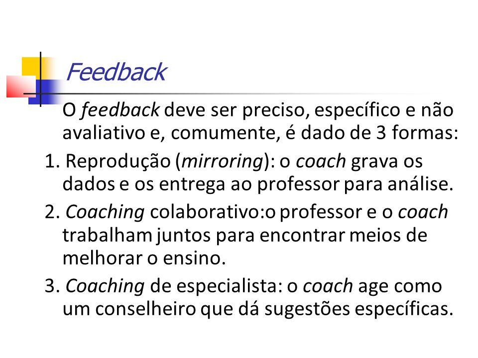 Feedback O feedback deve ser preciso, específico e não avaliativo e, comumente, é dado de 3 formas: