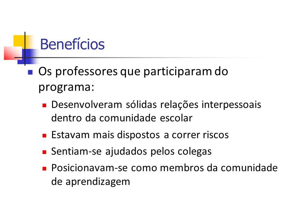 Benefícios Os professores que participaram do programa: