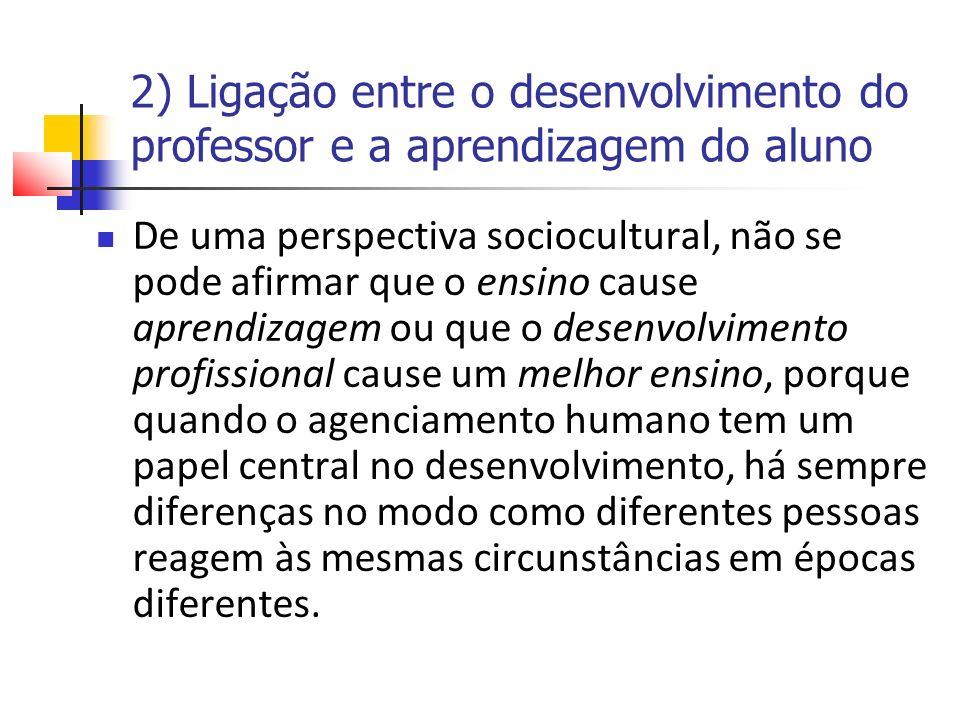 2) Ligação entre o desenvolvimento do professor e a aprendizagem do aluno