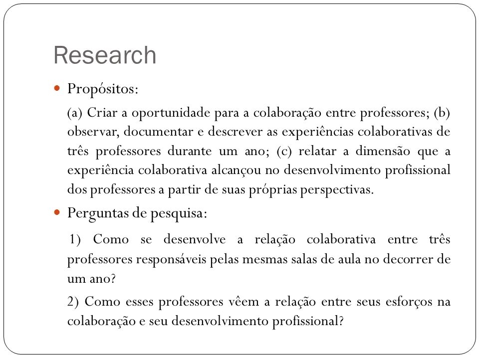 Research Propósitos: