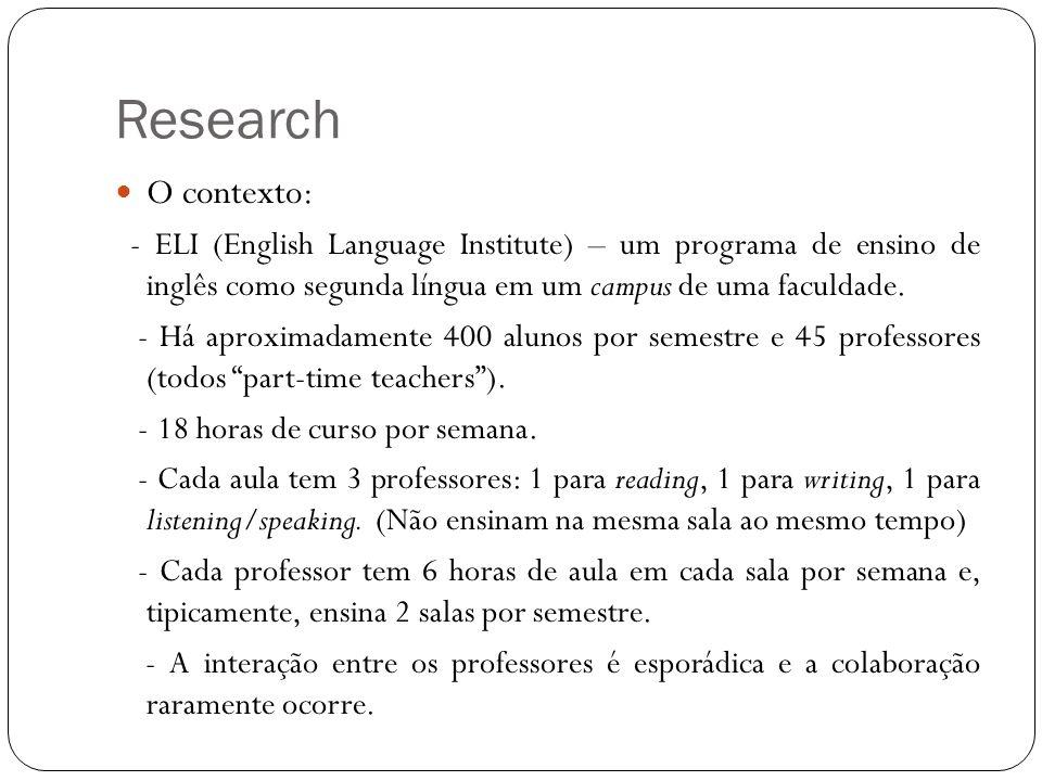 Research O contexto: - ELI (English Language Institute) – um programa de ensino de inglês como segunda língua em um campus de uma faculdade.