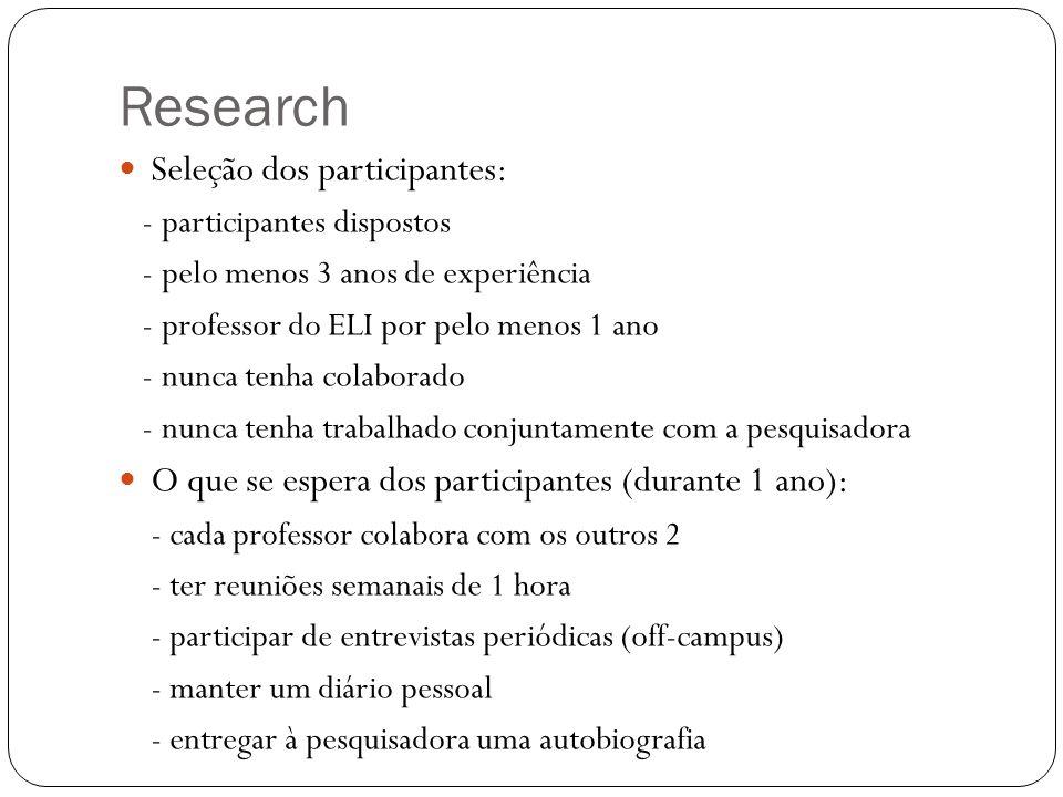 Research Seleção dos participantes: