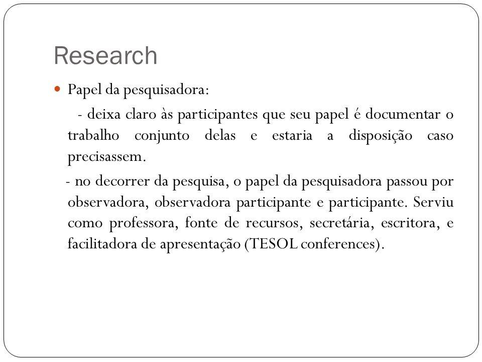 Research Papel da pesquisadora: