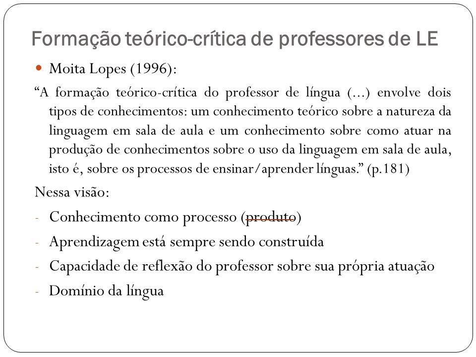 Formação teórico-crítica de professores de LE