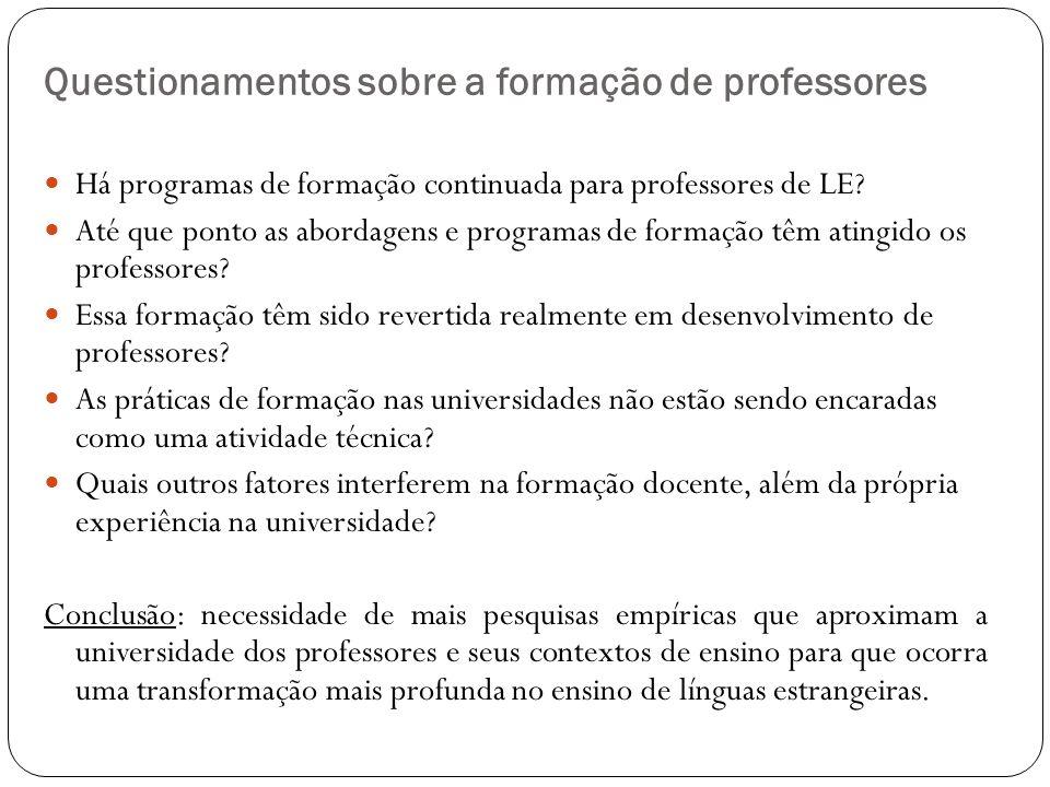 Questionamentos sobre a formação de professores