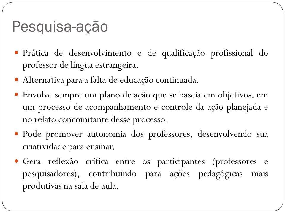Pesquisa-ação Prática de desenvolvimento e de qualificação profissional do professor de língua estrangeira.