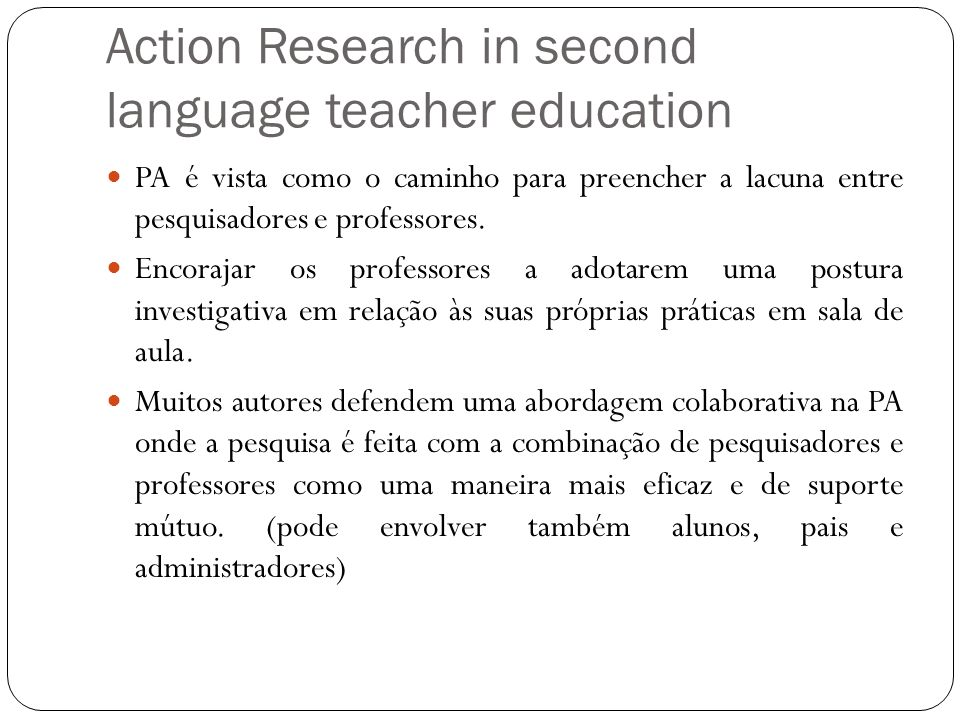 Action Research in second language teacher education