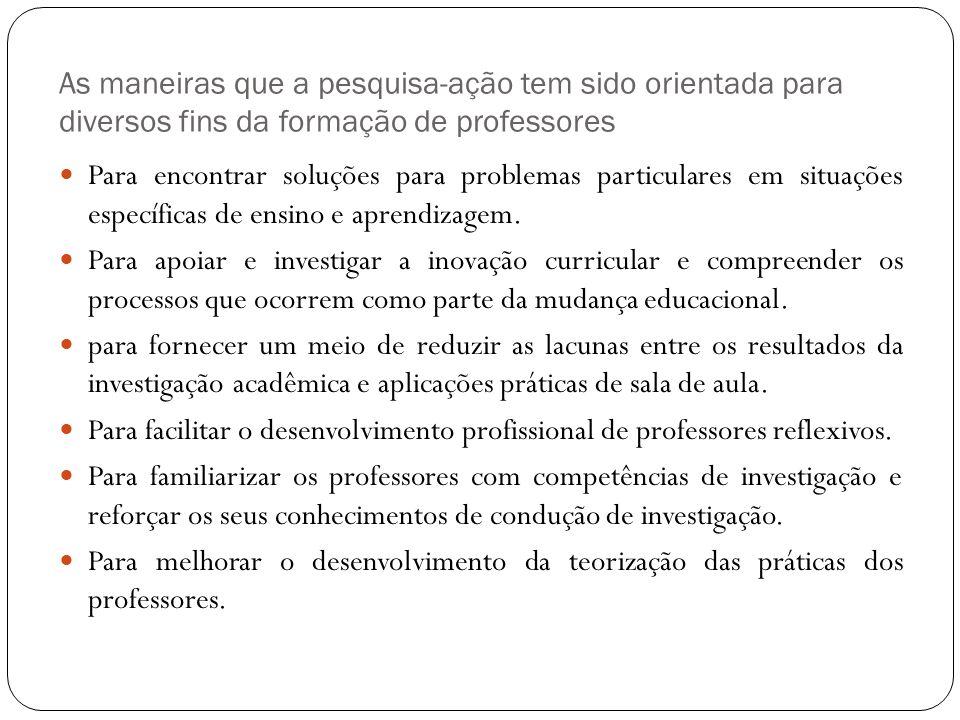 As maneiras que a pesquisa-ação tem sido orientada para diversos fins da formação de professores