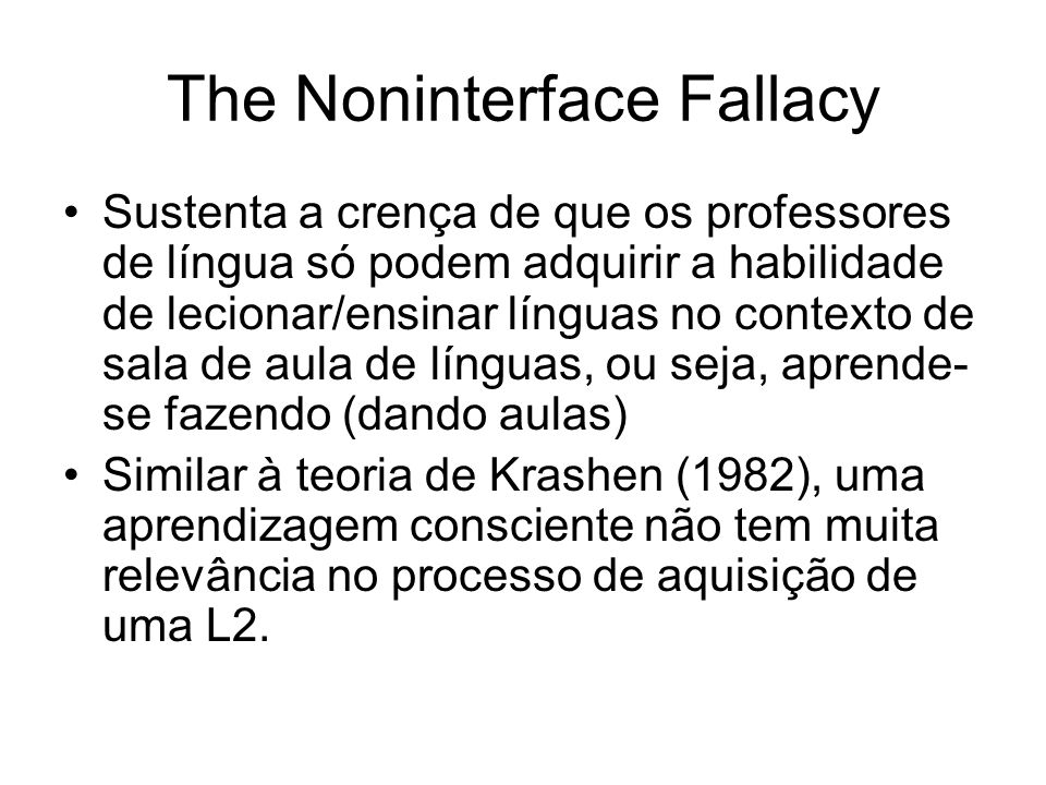 The Noninterface Fallacy