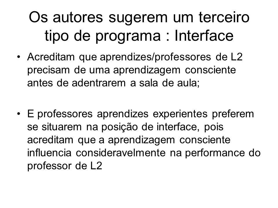 Os autores sugerem um terceiro tipo de programa : Interface