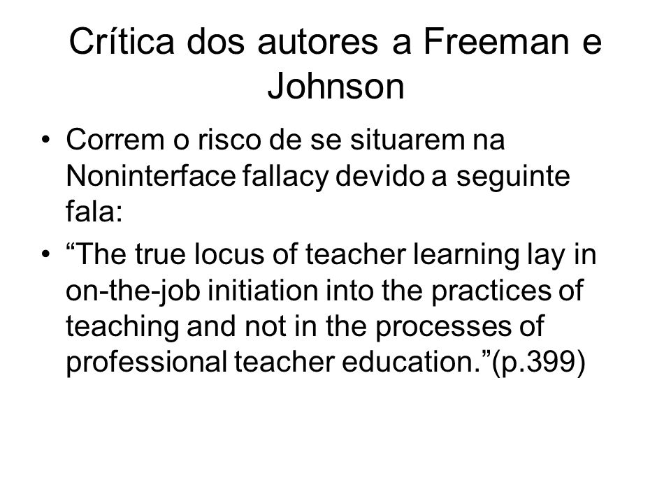 Crítica dos autores a Freeman e Johnson