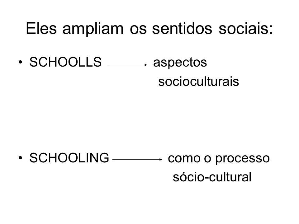 Eles ampliam os sentidos sociais: