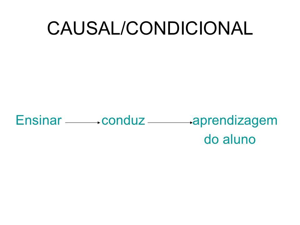 CAUSAL/CONDICIONAL Ensinar conduz aprendizagem do aluno