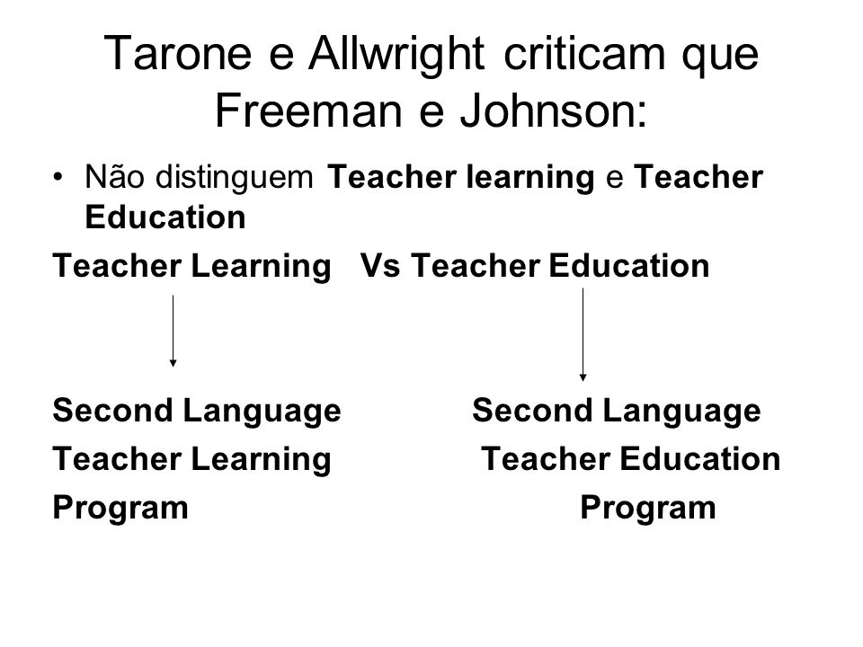 Tarone e Allwright criticam que Freeman e Johnson: