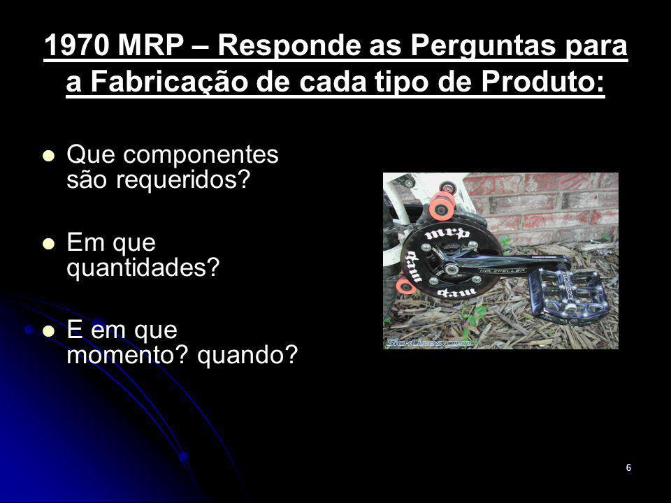 1970 MRP – Responde as Perguntas para a Fabricação de cada tipo de Produto: