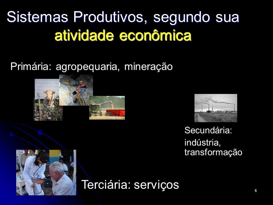 Sistemas Produtivos, segundo sua atividade econômica