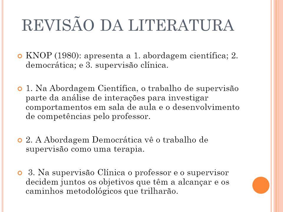 REVISÃO DA LITERATURA KNOP (1980): apresenta a 1. abordagem científica; 2. democrática; e 3. supervisão clínica.