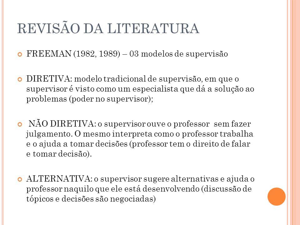 REVISÃO DA LITERATURA FREEMAN (1982, 1989) – 03 modelos de supervisão
