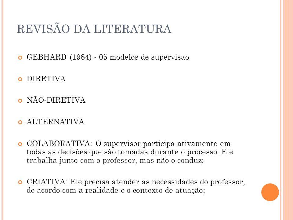 REVISÃO DA LITERATURA GEBHARD (1984) - 05 modelos de supervisão