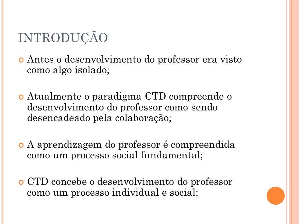 INTRODUÇÃO Antes o desenvolvimento do professor era visto como algo isolado;