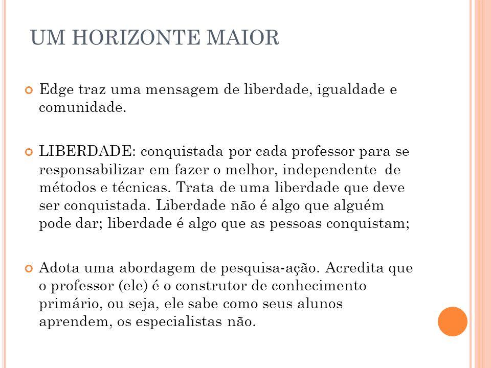 UM HORIZONTE MAIOREdge traz uma mensagem de liberdade, igualdade e comunidade.