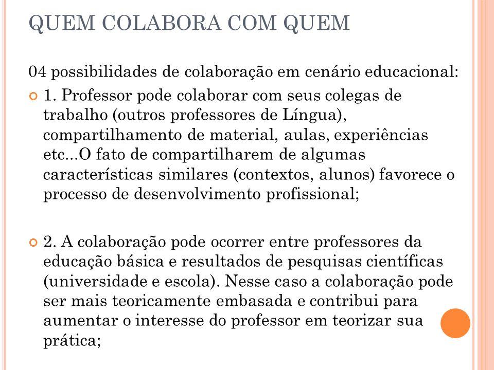 QUEM COLABORA COM QUEM 04 possibilidades de colaboração em cenário educacional: