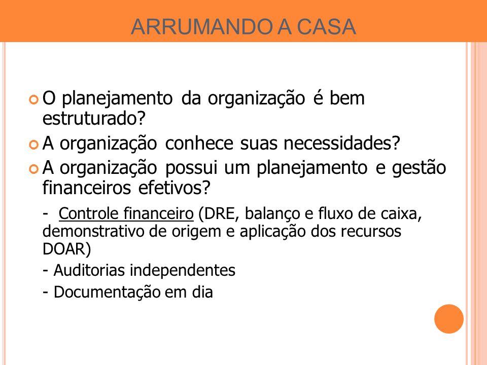 ARRUMANDO A CASA O planejamento da organização é bem estruturado