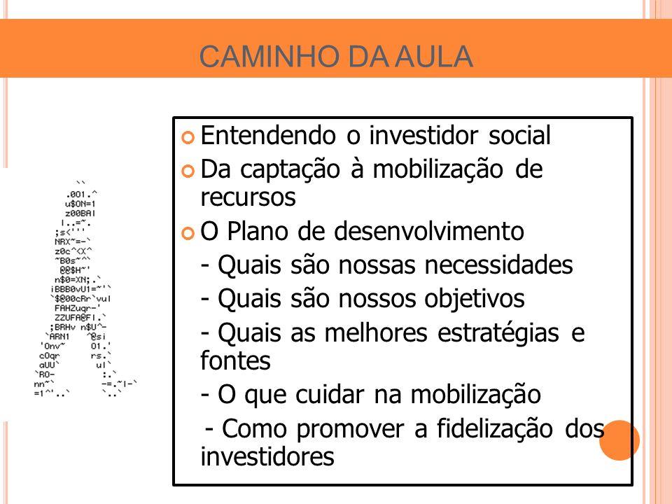 CAMINHO DA AULA Entendendo o investidor social