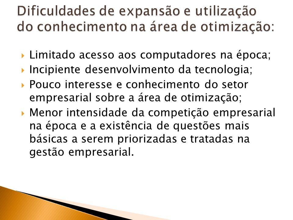 Dificuldades de expansão e utilização do conhecimento na área de otimização: