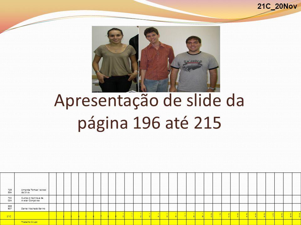 Apresentação de slide da página 196 até 215